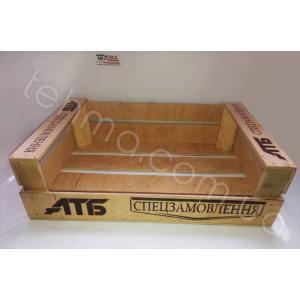 Изготовление ящиков с гравировкой для продукции сети супермаркетов АТБ!Мы изготовляем по индив..