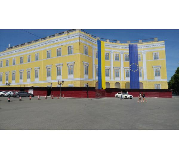 Монтаж баннера Одесса Приморский бульвар
