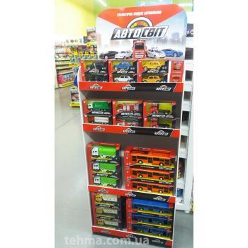 Рекламные торговые стойки для игрушечных машинок и техники с ярким брендированием логотипом фирмы ук..